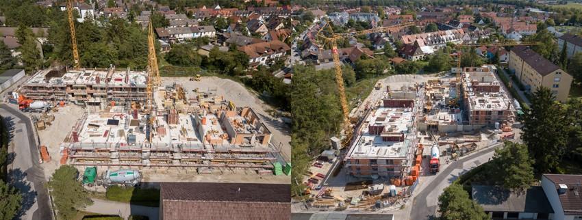 Die Baustelle der Städtischen Wohnungsbaugesellschaft in der Schlesierstraße in Wolfratshausen ist in vollem Gange - im Januar kann Richtfest gefeiert werden!