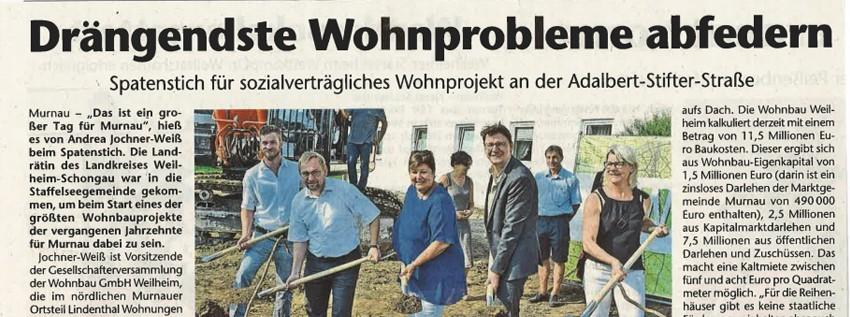 Spatenstich für sozialverträgliches Wohnprojekt an der Adalbert-Stifter-Straße in Murnau